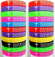 25pcs Colorful Serenity Prayer Bible Cross Silicone Bracelets Wristbands Bangles