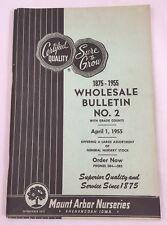 Vintage 1955 Mount Arbor Nurseries Wholesale Product Catalog #2 Price List  2530