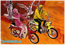 HONDA Poster CT90 and C50 1967 1968 1969 and 1970 Pop Art Suitable to Frame