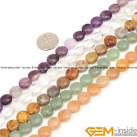 "Natural Assorted Stones Coin Spacer Loose Beads For Jewelry Making Strand 15"" YB"