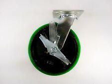 "8"" x 2"" Polyurethane On Cast Iron (Green) - Swivel with Brake"