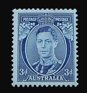 SG168a - 1937 Australia KGVI White Wattles Blue 3d MHOG Stamp - CV £170 - 75a
