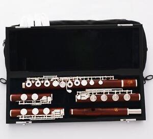 Professional Rose Wooden 3 FOOT Flute Italian Pad C&B&Flat B Foot PRO.Headjoint