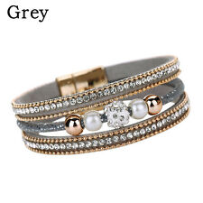 Hot Women Multilayer Bangle Bracelet Crystal Beaded Leather Magnetic Wristband Gray