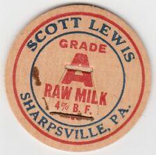 LOT OF 12 MILK BOTTLE CAPS. SCOTT LEWIS. SHARPSVILLE, PA. DAIRY
