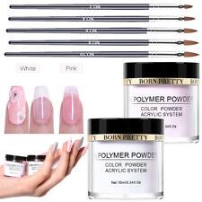 7X Nail Art Set 2Boxes 10ml Pink Clear Acrylic Powder Dust 5X Carving Art Pens