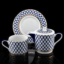 Lomonosov Porcelain tea set Cup Saucer Teapot Solo Cobalt Net  Gold IFZ Imperial