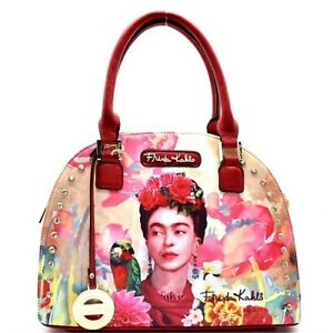 FK903 Authentic Frida Kahlo with Parrot in Flowers Rhinestone Round Satchel