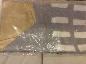 West Elm Lumbar Pillow Cover Embroidered Painted Geo 12x21 NWT! Frost Gray