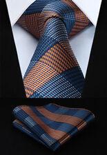 "Orange Blue Check 3.4"" Silk Woven Men Tie Necktie Handkerchief Set#TG601N8S"
