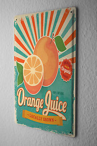 Tin Sign Soda Soft Drink Orange juice