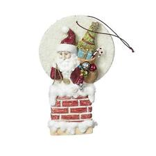 Red Santa in a Chimney Ornament