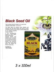 Black Seed Oil Cumin Kalonji Natural Nigella Sativa Oil 100% Pure  3 x 100ml