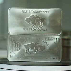 1x 10 Ounce Oz Titanium Buffalo Bar .999 Fine Ti Element one - ten oz