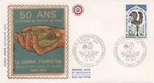 FRANCE 1973.F.D.C.SOIE.50 ANS LA CHAMBRE D'AGRICULTURE.OBLITERA:LE 1/12/73 PARIS