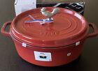 STAUB Cast Iron Dutch Oven Coq Au Vin La Cocotte 5.75 qt Cherry Rooster Knob