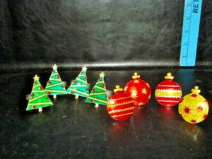 2 SETS of 4 VINTAGE NICE LARGE PEWTER MANGENEST SF CHRISTMAS NAPKIN RINGS