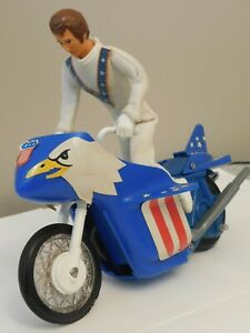 Vintage Evil Knievel + motorcycle IDEAL toys action figurine1972 Hollis NY