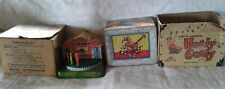 Vintage 1950's Mattel Farmer In The Dell & Hurdy Gurdy Tin Lithograph w/boxes