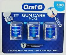 ORAL-B Gum Care Picks 300 Picks #1 Dentist Recommended Floss with 3 Travel Cases