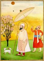 Handmade Sikh Art Miniature Painting Of Guru Har Rai Seventh Sikh Guru on Paper