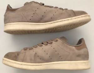 Adidas Stan Smith Uk6 Beige Suede Gold Trim Trainers Pumps Lace Up Casual