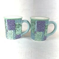 Very2 Starbucks 2002 Barista Mosaic Ceramic Coffee Cup Mug Blue/Purple/Aqua RARE