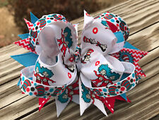 Hair Bow a Large Boutique style Dr. Suess Thing 1, Thing 2 handmade Hair bow USA