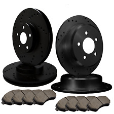 [FRONT & REAR] 4 DRILLED ONLY PERFORMANCE BRAKE ROTORS +8 CERAMIC PADS ATL052137