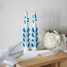 White Blue Set of 2 Havdalah Carved Candles by Size 9 inch / 24 cm - 2 wick