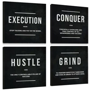 4pcs Hustle Grind Motivational Inspired Canvas Wall Art Inspirational Poster