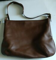 Auth COACH 9213 Brown Leather Shoulder Bag Large