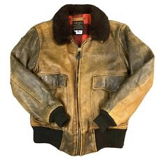Avirex US Navy Bomber Jacket Type G-1 Leather Brown Size 38 Airplane Commander