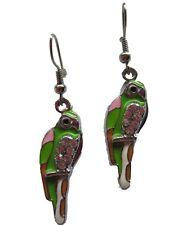 Ausgefallene Ohrringe Ohrhänger Hänger Papagei Vogel Ara Straß Steine *1030*