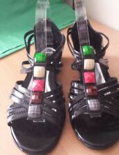 Ladies sandals size 40 Black LIZA BRAND with bling. Rear zipper closer