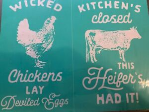 "Retired— NEW Chalk Couture "" Wicked Chickens "" Size B Transfer"
