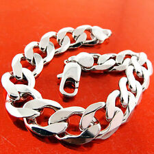 BRACELET BANGLE REAL 925 STERLING SILVER S/F MEN'S HEAVY BLING CURB CUBAN LINK