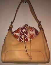 Hogan By Tod's Beige Leather Handbag w/ Red, Orange & Purple Interior Pouch