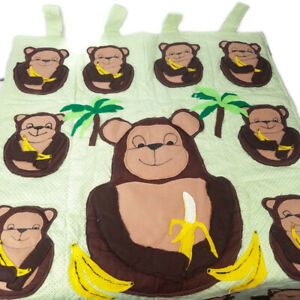 Monkey Baby Nursery Green Window Wall Panel Hand Sewn Hanging Cotton Quilted (mc