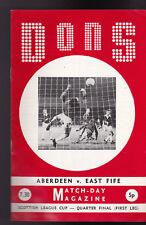 Dons Match Day Magazine Aberdeen v East Fife October 11 1972