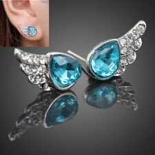Fashion Designer Jewlery Angels Wing Crystal Rhinestone Womens Ear Stud Earrings