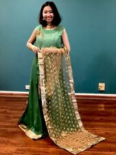 "40"" M Silk Cotton Salwar Kameez Bollywood Indian Diwali EID Dress Green Gold A8"