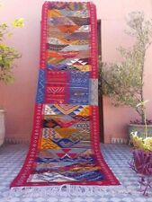 "Beni Ourain Rug, Vintae Wool Rug, 96"" * 26"" Red Runner Corridor Moroccan Rug"