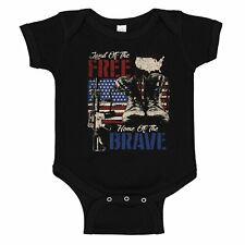 Land of the Free Home of the Brave Patriotic Flag Baby Romper Bodysuit
