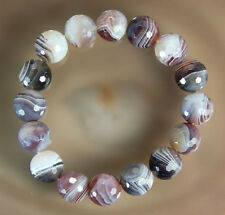 12mm Faceted Natural Persian Gulf Agate Bracelet