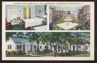 Postcard FAYETTEVILLE North Carolina/NC  Colonial Motor Court Cabins Tri-view