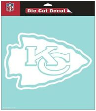 "Kansas City Chiefs 8""x8"" White Auto Decal [NEW] NFL Car Emblem Sticker CDG"