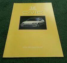 1986 HONDA CIVIC DELUXE / GT 3 Door HATCHBACK - UK 16pg BROCHURE