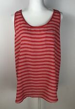 Loft womens top blouse sleeveless light weight stripes size L (447)