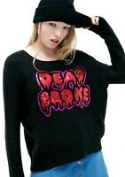 NWT Dead Broke Black Sequin Loosed Long Sleeve Sweater Sz Small